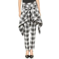 Robert Rodriguez Tartan Cigarette Pants - Black/White ($119) ❤ liked on Polyvore featuring pants, bottoms, jackets, flannels, jeans and robert rodriguez