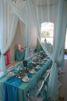 4 Mermaid Tea Party Celebrations - Fantasy Celebrations - Powered by Phanfare on imgfave Carnival Birthday Parties, Frozen Birthday Party, 5th Birthday, Little Mermaid Birthday, Little Mermaid Parties, Frozen Tea Party, Royal Tea Parties, Tea Party Table, Hanging Fabric