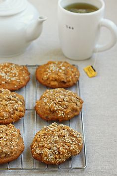 Sesame Date Breakfast Cookies. All natural, honey and date sweetened cookies. - Dates have regenerative, anti-oxidizing, firming and soothing properties clinically proven to increase collagen synthesis and minimize the appearance of wrinkles.