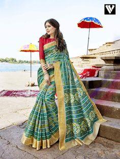 3fa3adffb06640 Printed Casual Wear Rajjo Cotton Silk Sarees In Green