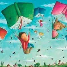 I Love Books, My Books, School Murals, Family Illustration, Poetry Books, Literature Books, World Of Books, Book Images, Whimsical Art