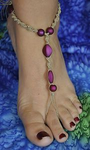 Women Macrame Handmade Barefoot Sandals foot jewelry beach bracelet anklet