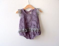 NEW 9-12 Months Lace Romper Lavender Lace Romper by zoik on Etsy