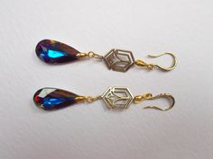Swarovski Crystal Volcano 24mm Drop Art Deco Dangle Earrings by RicePaperJewels on Etsy