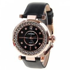 Sinobi Quartz Watch with Diamonds Round Dial Leather Watchband for Women (Black), BLACK in Women's Watches Cowgirl Hats, Women's Watches, Black Watches, Leather Chain, Buying Wholesale, Cheap Clothes, Online Shopping Stores, Quartz Watch, Watch Bands