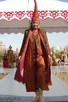 Kazakh female model in their traditonal costume.