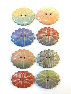 Polymer Clay Buttons - Dragonfly Fluted Ovals by DivaDesigns1, via Flickr