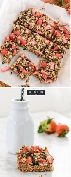 Oatmeal Pistachio Strawberry Breakfast Bars are nutritious, high in protein. Loaded with healthy whole grains, healthy fat, potassium, magnesium and loads of protein make them super nutritious and a balanced macro breakfast. - A Healthy Life F Breakfast Bars Healthy, Strawberry Breakfast, Healthy Bars, Healthy Sweets, Healthy Life, Healthy Snacks, Healthy Eating, Healthy Recipes, Healthy Brunch