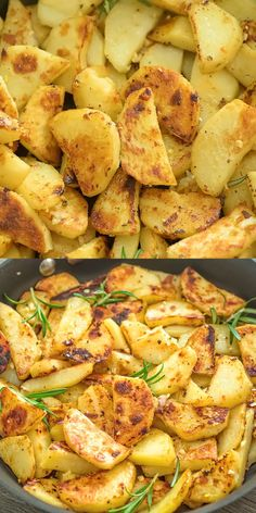 Easy Skillet Potatoes These Skillet Potatoes make a perfect side dish. Made with rosemary and lemon juice, they are aromatic and full of flavor! Make this vegetarian / vegan dinner tonight! Don't forget to share your photos! I always check. Potato Recipes, Vegetable Recipes, Chicken Recipes, Potato Meals, Skillet Potatoes, Fried Potatoes, Stove Top Potatoes, Mashed Potatoes, Potato Sides
