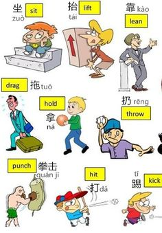 Learn Chinese Vocabulary in an Easy Way – Verbs Part 1 action words Mandarin Lessons, Learn Mandarin, Basic Chinese, Chinese English, Chinese Food, Learn Cantonese, Learn Chinese Characters, Chinese Lessons, Spanish Lessons