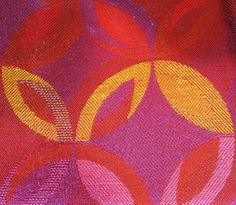 Continental Airlines Fabric Design c.   Used for coach seats 1968-1974  Boeing 727-200  Designed by Audrey Meadows