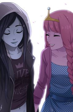 grafika adventure time, marceline, and princess bubblegum