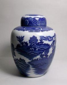 Vintage Scenic Blue and White Porcelain Ginger Jar by treasures1st on Etsy