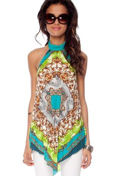Paisley Pleated Halter Top