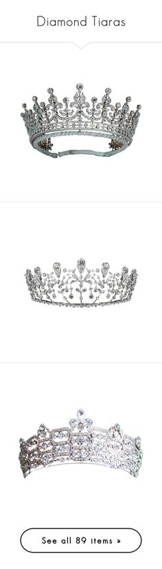 """Diamond Tiaras"" by lilyrain13 ❤ liked on Polyvore featuring accessories, hair accessories, tiara, crowns, jewelry, head, crown hair accessories, crown tiara, tiara crown and tiaras"