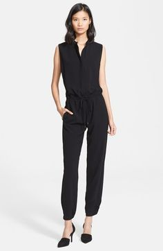 Free shipping and returns on Vince Sleeveless Jumpsuit at Nordstrom.com. Ties perfect the fit of a polished sleeveless jumpsuit styled with banded collar and cinched cuffs, appropriate for office and evening alike. A hidden-button placket creates a neckline as high or plunging as you like.