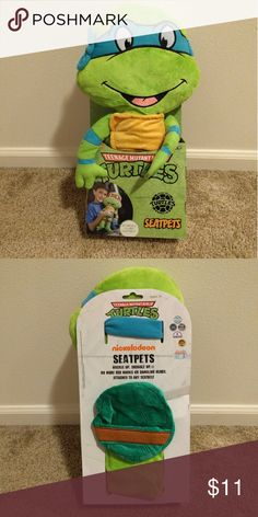 "SeatPet Teenage Mutant Ninja Turtle Brand new SeatPet Ninja Turtle Leonardo   Easily attaches to any seat belt for fun and comfort!  Perfect for play time, relaxing, or naps  Teenage Mutant Ninja Turtle Leonardo measures 18"" in height  Machine wash; tumble dry low  Velcro for easy fastening! Nickelodeon Other"