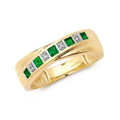 9ct Gold 0.12 Carat Emerald & Diamond Eternity Ring