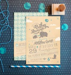 Adorable elephants baby shower invitations by PaperStreetPress, just $20.00  #cute #elephants #baby #animal #shower #invitations #blue #vintage