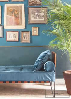 LA FRENCH STUDIO interior design, daybed, sofa, banquette, leather, velvet, capitonné, sous-bassement, brass, laiton, palm tree, plants, photography, blue, green, bleu canard, indian style, masque, plantes, cadres, frame, bungalow, bandra, mumbai, bombay, india, inde, terrazzo