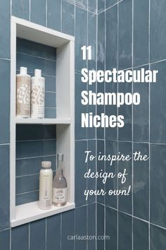 11 Spectacular Shampoo Niches To Inspire The Design Of Your Own! Tips, inspiration and design ideas to design a fab shampoo niche into your next bathroom! carlaaston.com Dark Bathrooms, Guest Bathrooms, Upstairs Bathrooms, Bathroom Niche, Next Bathroom, Bathroom Ideas, Master Bath Remodel, Design Projects, Design Ideas