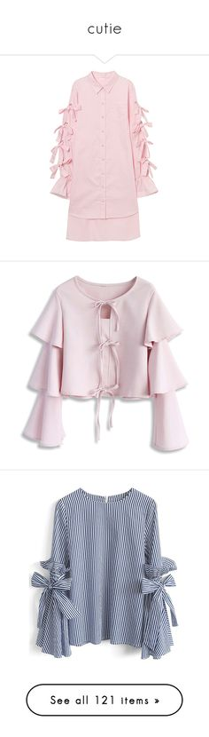 """cutie"" by krystalyuke ❤ liked on Polyvore featuring tops, crop top, pink, cut-out crop tops, tie crop top, tier top, tiered ruffle top, triple top, blue and flounce tops"