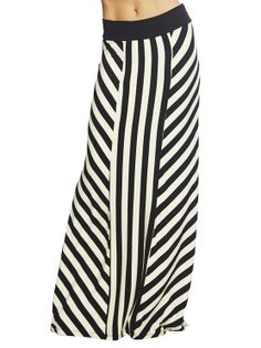 "With a mix of vertical stripes and a chevron pattern on long panels, this soft and stretchy knit maxi skirt has all kinds of style. Unlined.    Model is 5'9"" and wears a size small.  47"" From waist to hem Viscose 