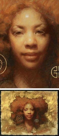 """""""Luminous"""" - Susan Lyon, watercolor, pastel and gold paint on paper, 2016 {figurative art beautiful female head textured black woman face portrait painting detail #loveart} susanlyon.com"""