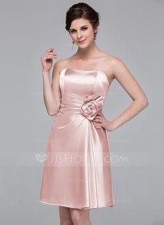 3d9310d0299 Sheath Column Sweetheart Knee-Length Charmeuse Bridesmaid Dress With  Flower(s) (