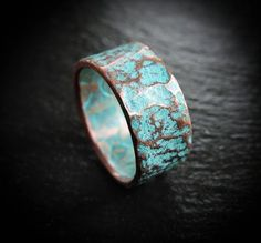 Copper Wedding Band - Rustic Hammered Turquoise Patina Ring - Unique Boho Jewelry Gifts for Her