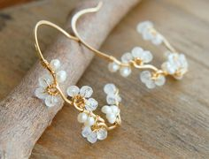 Moonstone Flower Vine Hoop Earrings Gold Filled Wire Wrapped Hoops Buds White Wedding Bridal  Jewelry