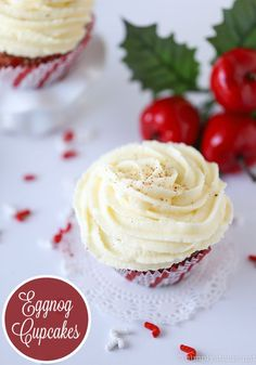 Eggnog Cupcakes - Have a bite of Christmas with this simple dessert recipe! It has eggnog in the cupcake AND the frosting.
