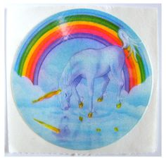 Favorite sticker in my own collection! Rare Vintage Lisa Frank Rainbow Unicorn Reflection Sticker 80s via Etsy