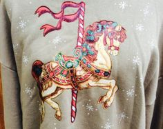 Jerzees Carousel Horse Tan Sweatshirt Activewear Vtg Women's Horse Christmas 80s Puffy Paint Sweater Shirt Wacky Ugly Christmas Sweater