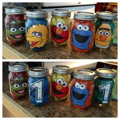 Sesame Street party centerpieces, just need to add balloons!