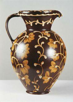 Ceramic ewer/water pitcher by Bunzlauer Braunzeug (Bolesławiec, Poland), c. 1940