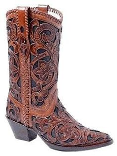 Womens Hand Tooled Overlay Black Corral Boots