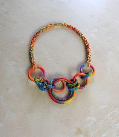Random Circles Textile Necklace Poppy by fiber2love on Etsy