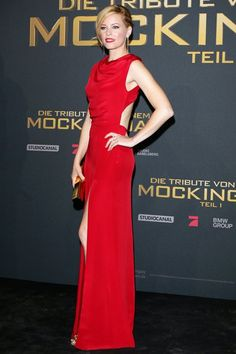 Elizabeth Banks wore a Saint Laurent gown with Giuseppe Zanotti heels and a Lee Savage clutch.