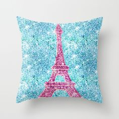 pink and teal effiel tower pillow