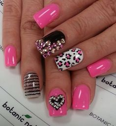 Pink, black, white cheetah and hearts