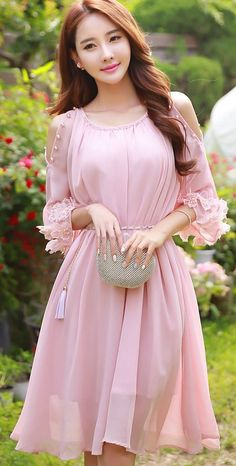 Pink Prom Dress,Middle Sleeve Prom Dress,Fashion Homecoming Dress,Sexy