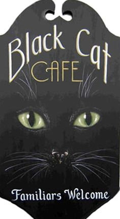 King Of Mice Studios - Black Cat Cafe Familiars Welcome - Halloween Cute sign for porch Halloween Signs, Holidays Halloween, Vintage Halloween, Halloween Crafts, Halloween Decorations, Halloween Black Cat, Halloween Kitchen, Halloween Painting, Halloween Table