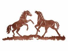 "42"" Two Wild Horses Metal Wall Art"