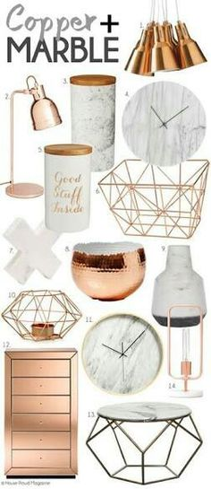 Copper, Rose Gold and Marble