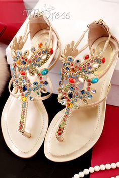 Apricot Colorful Rhinestones Flat Gladiator Sandals