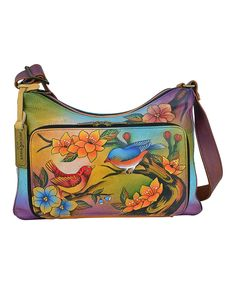 This Anuschka Handbags Two For Joy Twin-Top Hand-Painted Leather Hobo by Anuschka Handbags is perfect! #zulilyfinds