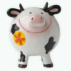 Happy Cow Piggy Bank Happy Cow, This Little Piggy, Money Box, Piggy Banks, Ceramics, Cows, Ideas, Cow, Ceramica