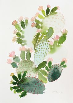 flowering cactus watercolor illustration by Yao Cheng Watercolor Cactus, Watercolor Leaves, Watercolor Paintings, Original Paintings, Art Paintings, Watercolors, Acrylic Paintings, Image Cactus, Cactus Art