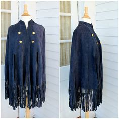 Suede Cape with Fringe   Navy Blue Leather Poncho  by ChimpVintage, $78.00
